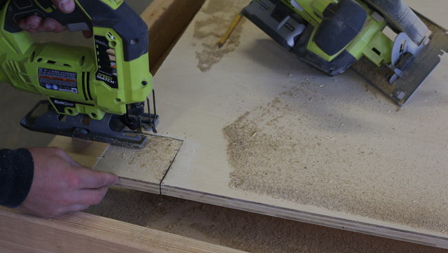 work bench cut out with jig saw