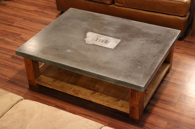 Coffee table with metal inlay