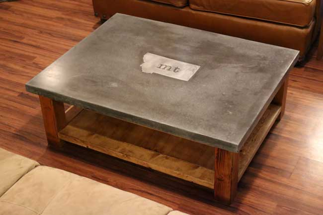 concrete coffee table with metal inlay