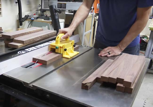 ripping walnut boards on table saw