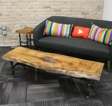 finished cherry slab coffee table