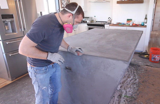 Diy Concrete Counters With Waterfall Ends Concrete Overlay
