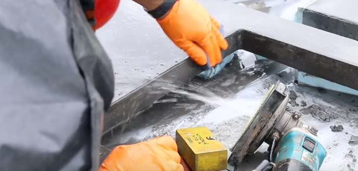 how to polish concrete sink area