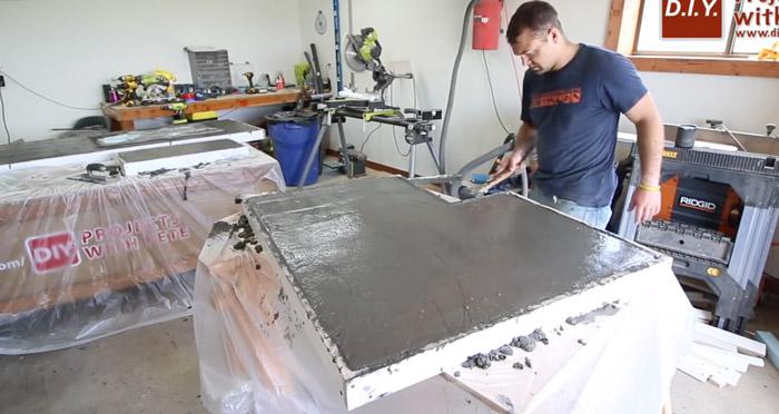 vibrating concrete