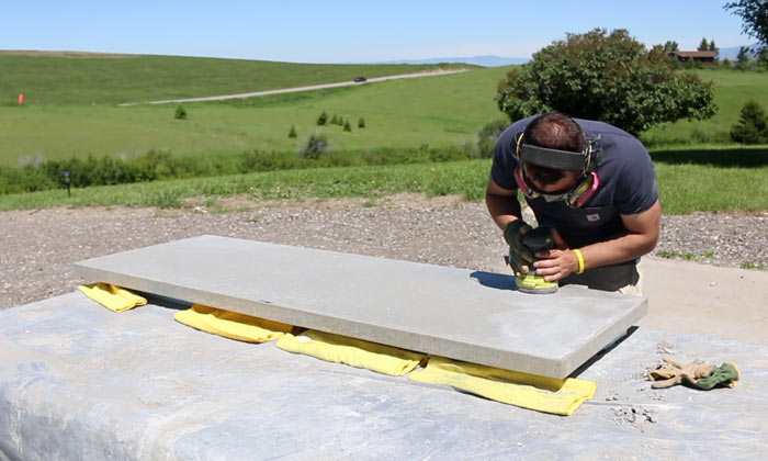 how to sand concrete counters