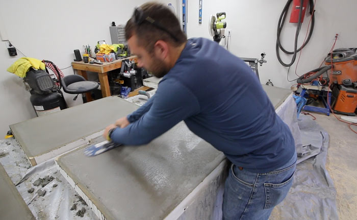 how to hard trowel concrete counters