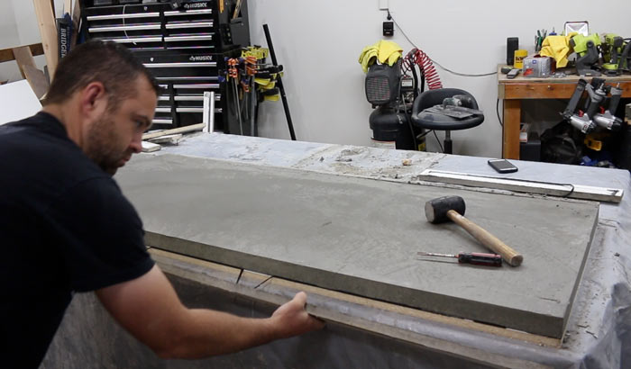 removing concrete counter from the mold