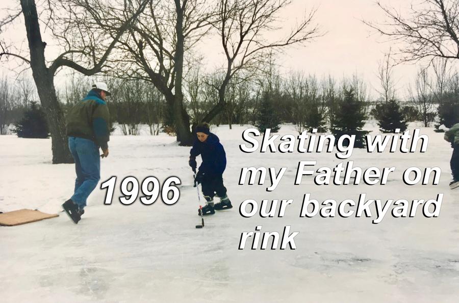 Skating on a backyard hockey rink growing up