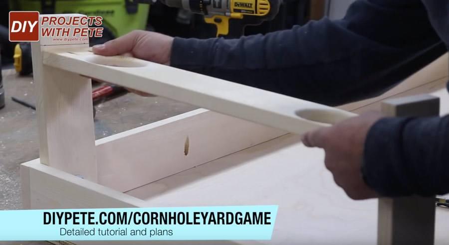 Cornhole board drink holders