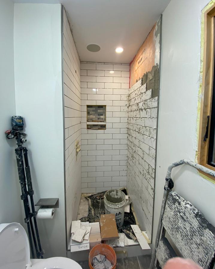 installing subway tile
