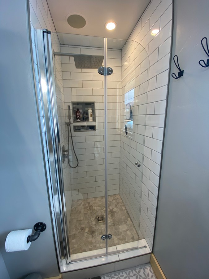 glass shower door for small bathroom ideas
