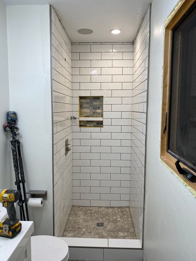 subway tile examples in small bathrooms