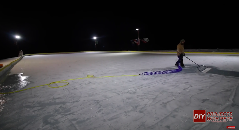 Nice Rink ice resurfacer with coiled hose