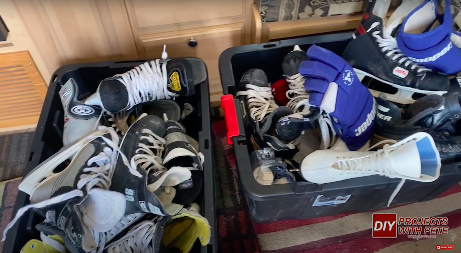 Hockey skates and gloves collection