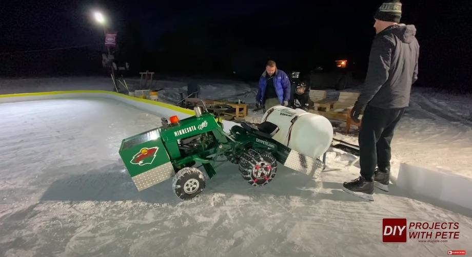 DIY Zamboni ice resurfacer bent in half