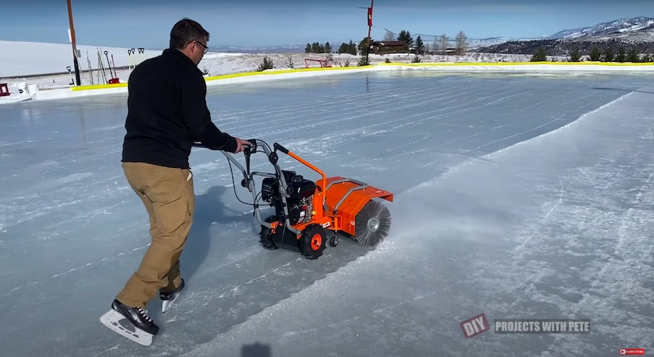 Powerbrush for sweeping the ice really clean